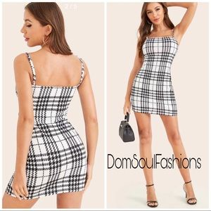 Dresses & Skirts - Plaid White & Black Cami Houndstooth Mini Dress
